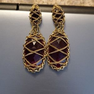 Faux Garnet brass drop earings